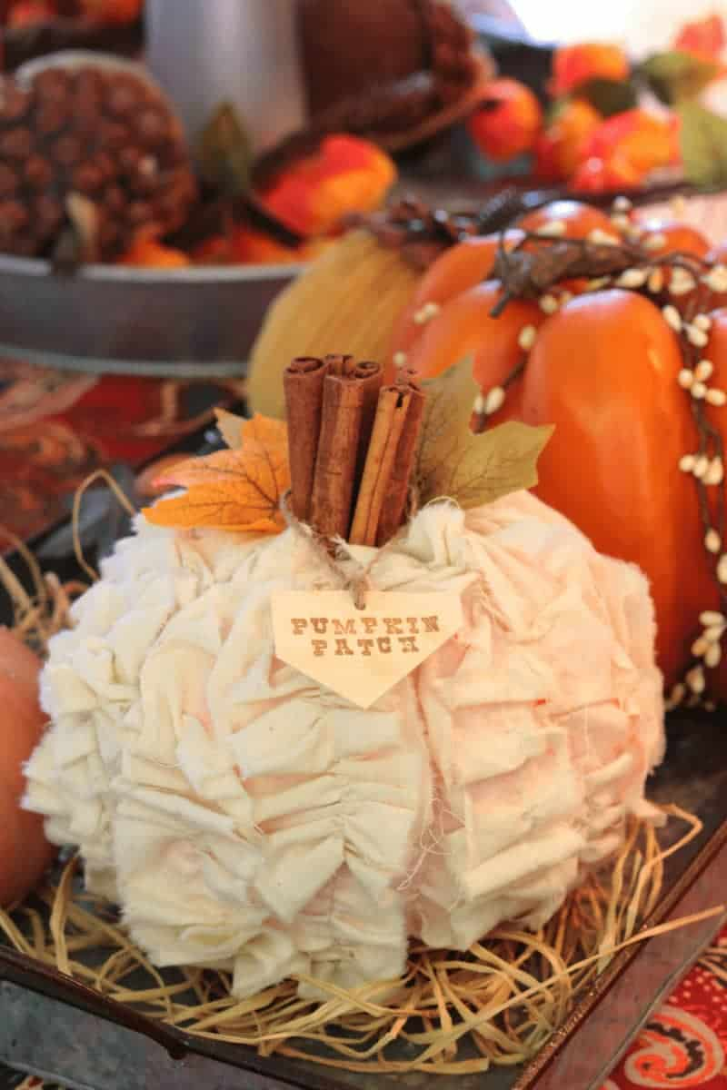 DIY Shabby Chic pumpkin on farmhouse style tray. Autumn Decor at www.cupcakesandcrinoline.com