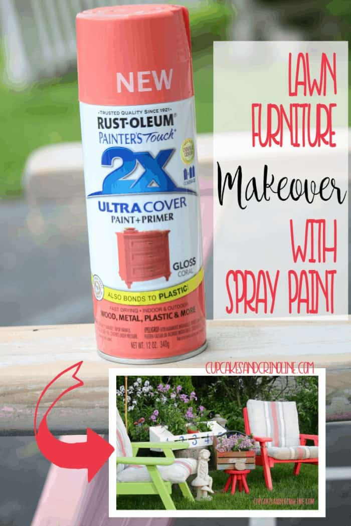Yard Sale Lawn Chairs get a Spray paint furniture makeover - the end result is fabulous! Get the details at www.cupcakesandcrinoline.com