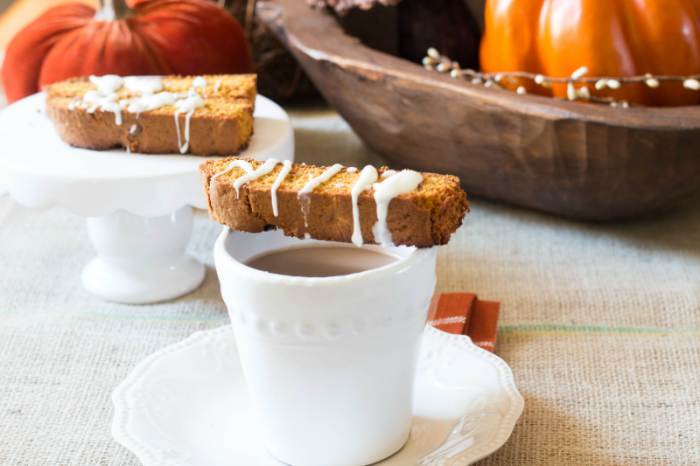 Pumpkin Biscotti made from a quick bread and muffin mix. Great for the busy holiday season to savor for yourself or have on hand for house guests. Get the recipe at www.cupcakesandcrinoline.com