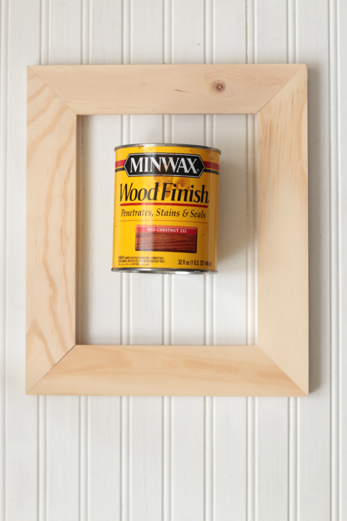 Apply wood finish to frame - Minwax Wood Finish Red Chestnut 232