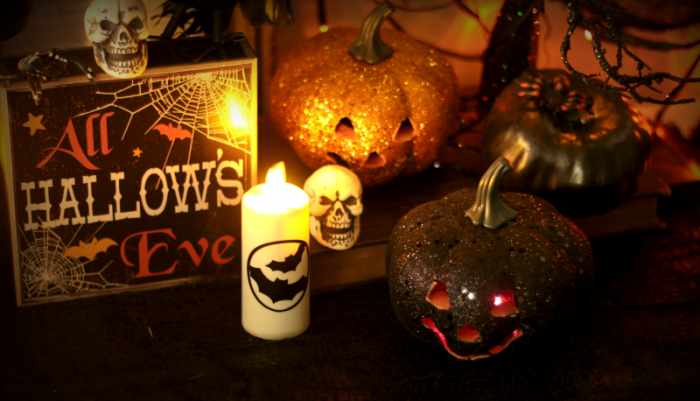 Dollar Store Glitter Pumpkins and skulls with