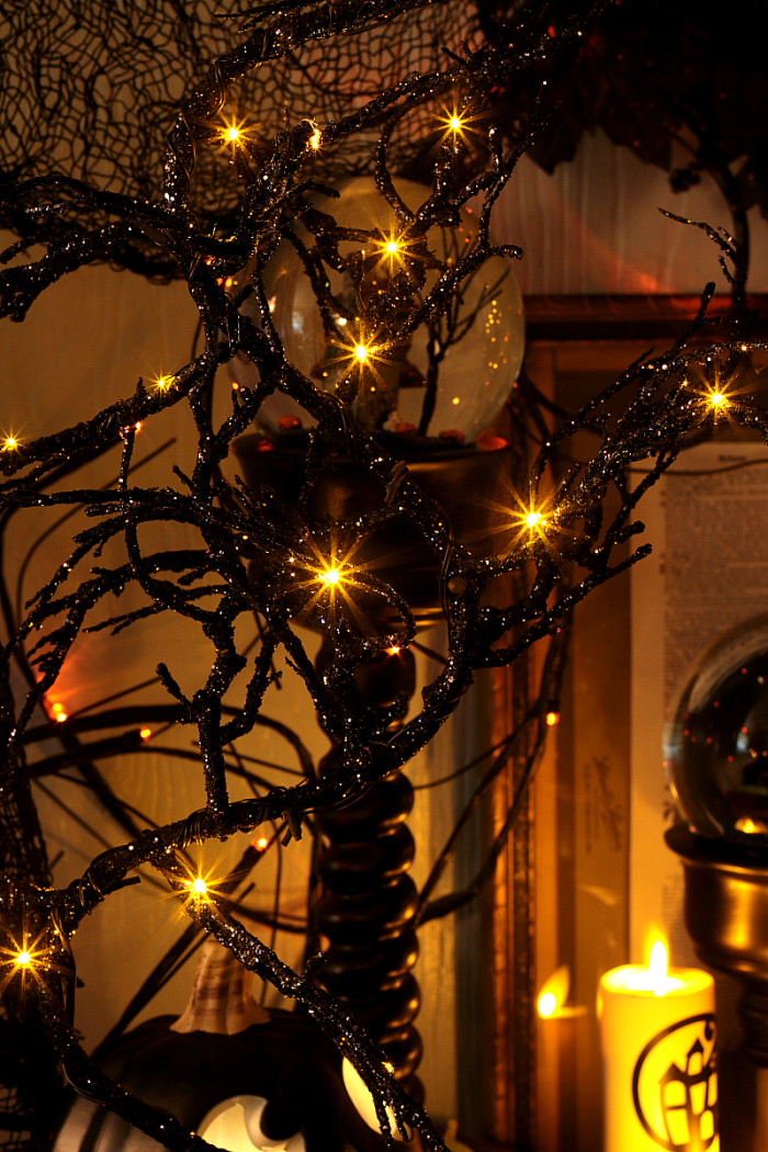 Glitter Halloween Tree with Orange Lights