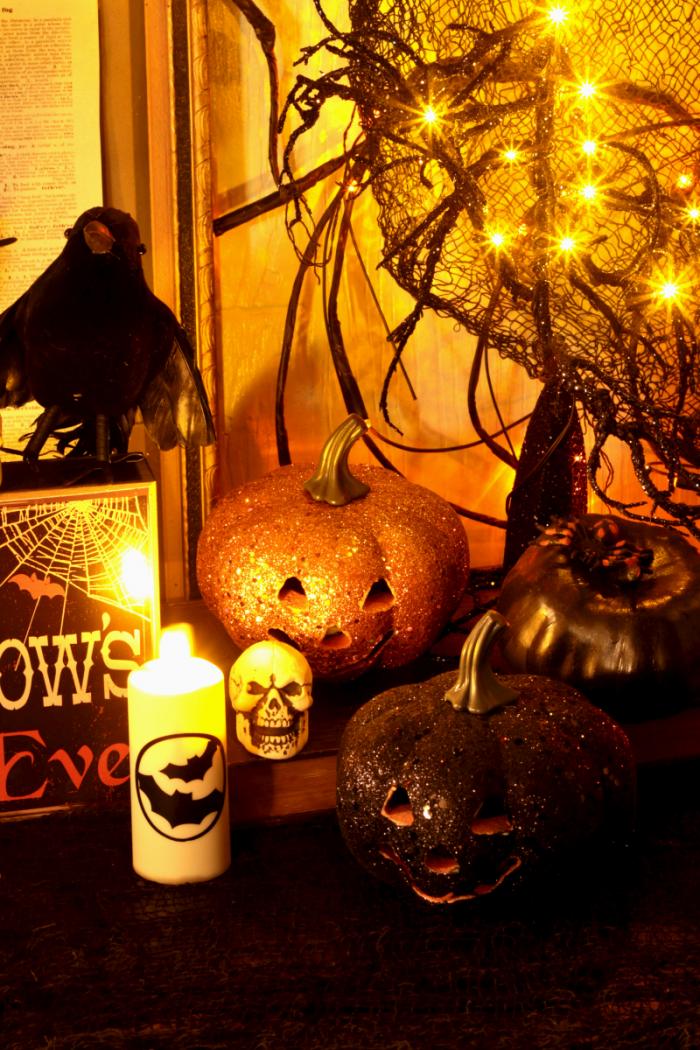 Halloween Decor Orange and Black Glittered Pumpkins that Light Up