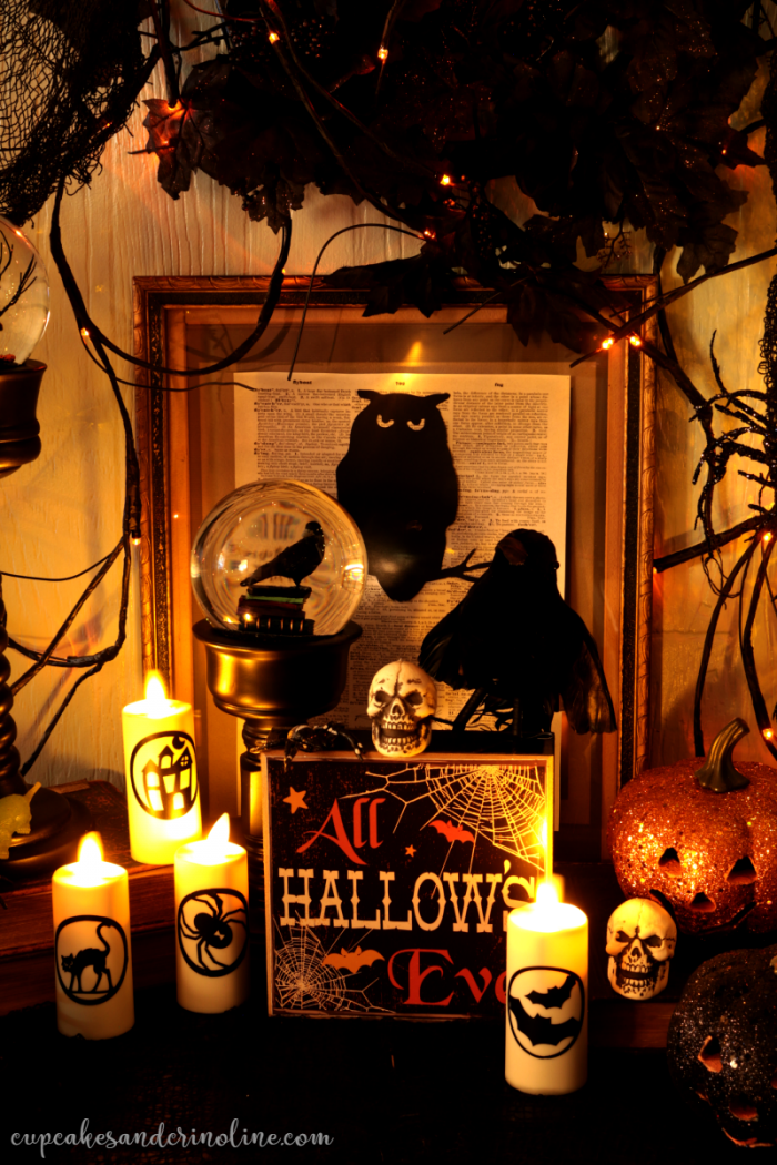Halloween Decor Owls Crows Glitter Pumpkins and Decorated Flicker Candles