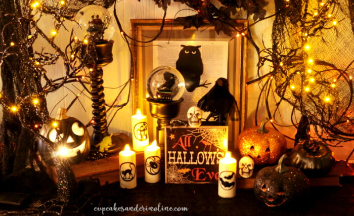 Halloween Decor sparkle, glitter, spooky and glam at www.cupcakesandcrinoline.com
