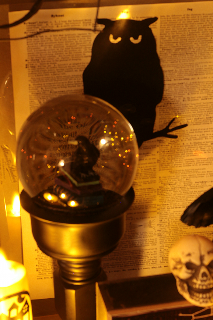 Halloween Snowglobe with Crow