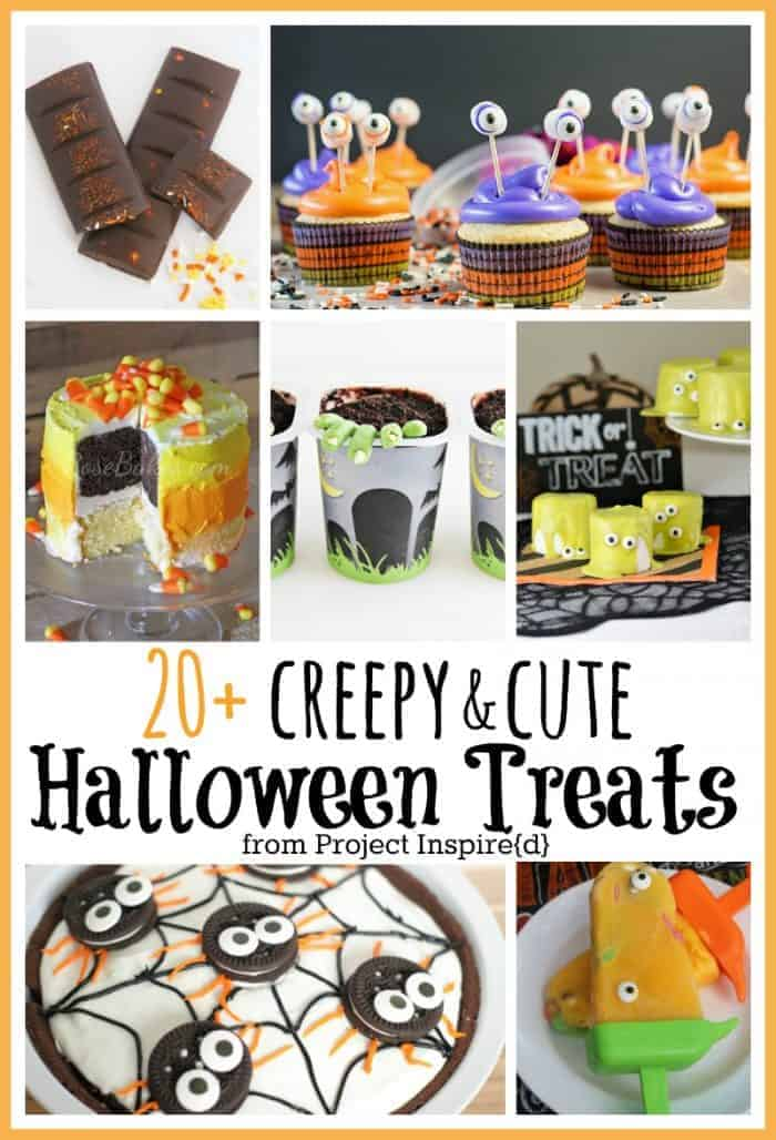 20 plus cute and creepy Halloween Treats - features from Project Inspired at www.cupcakesandcrinoline.com