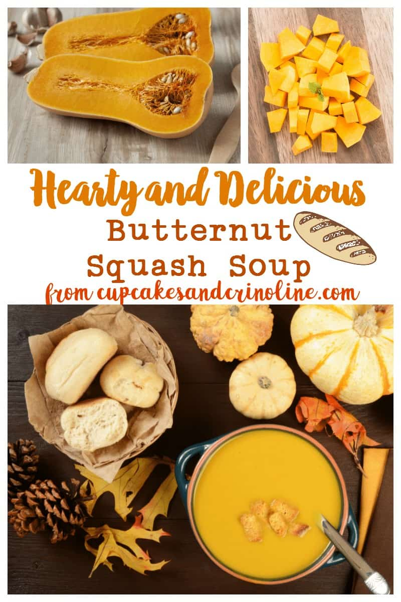 Butternut squash soup in a bowl with crusty bread