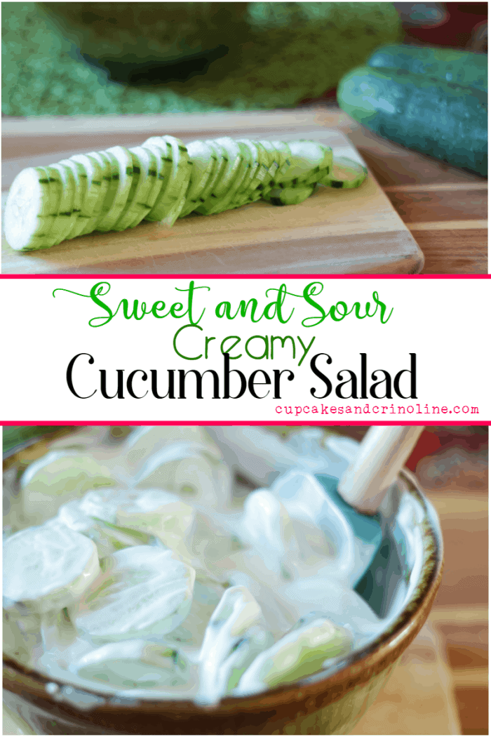 Creamy Sweet and Sour Cucumber Salad - www.cupcakesandcrinoline.com