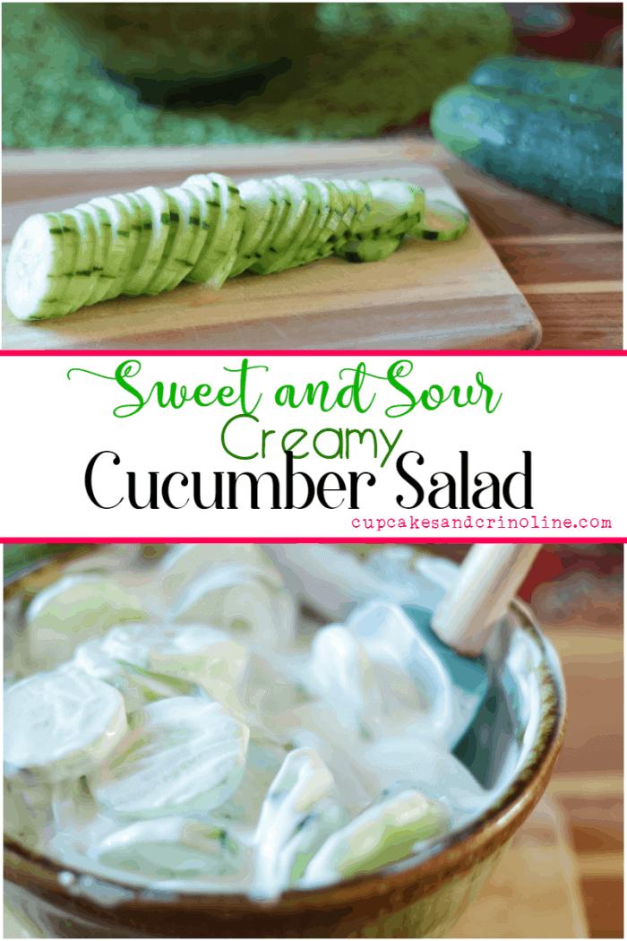 Creamy Sweet and Sour Cucumber Salad - www.cupcakesandcrinoline.com