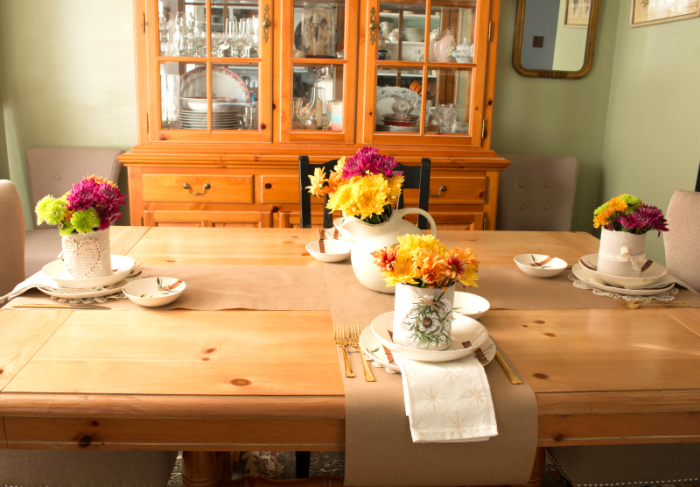 Dining Room Table - Criss Crossed brown paper for writing what you're thankful for