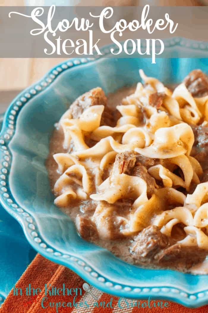 Heart and delicious Slow Cooker Steak Soup with Noodles. Get the recipe at cupcakesandcrinoline.com