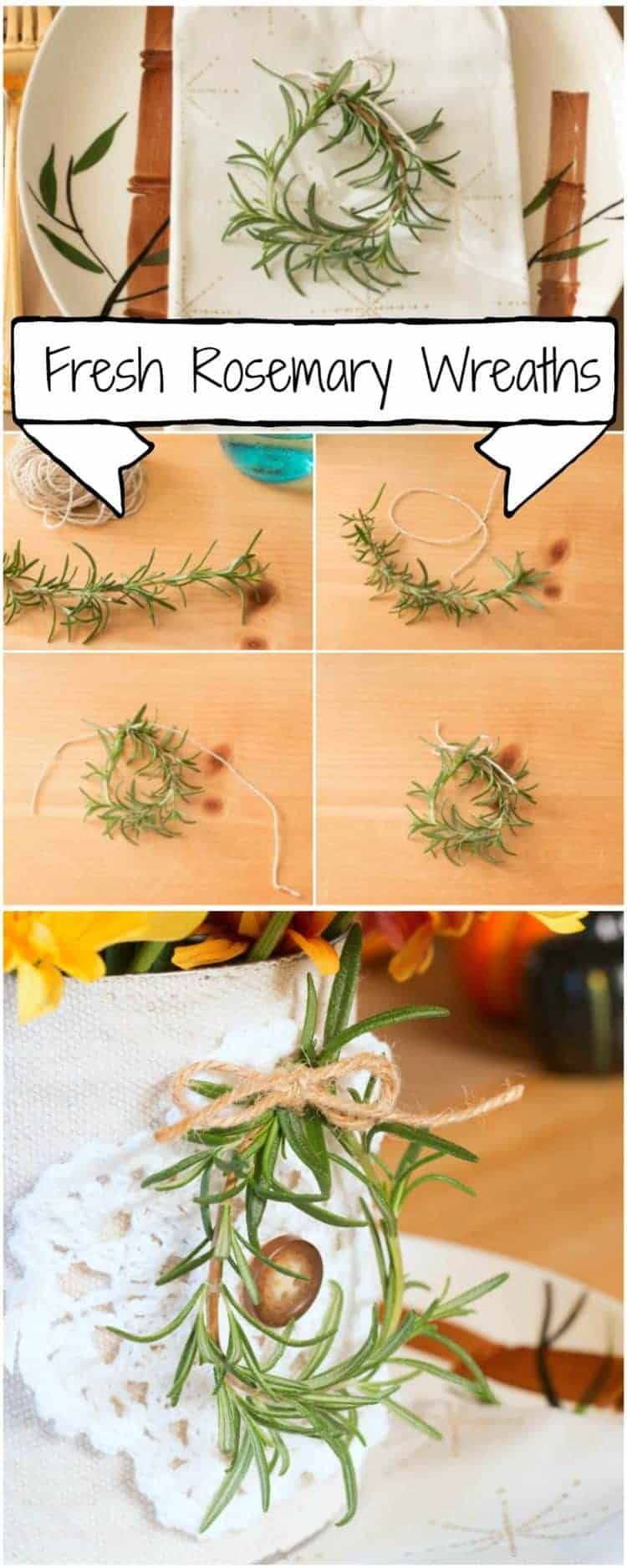 Simple Thanksgiving Tablescape with Fresh Mini Rosemary Wreaths