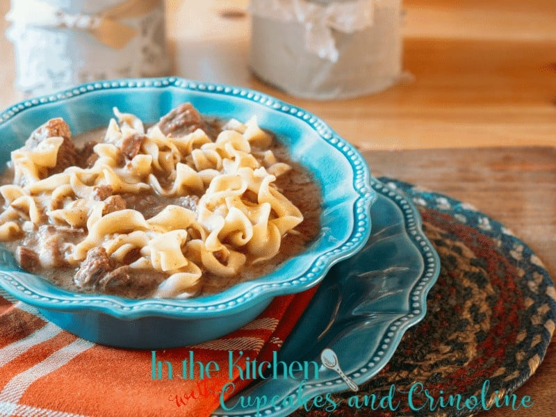The perfect meal for a chilly and busy day - Delicious Slow Cooker Steak Soup with Noodles. Get the recipe at www.cupcakesandcrinoline.com