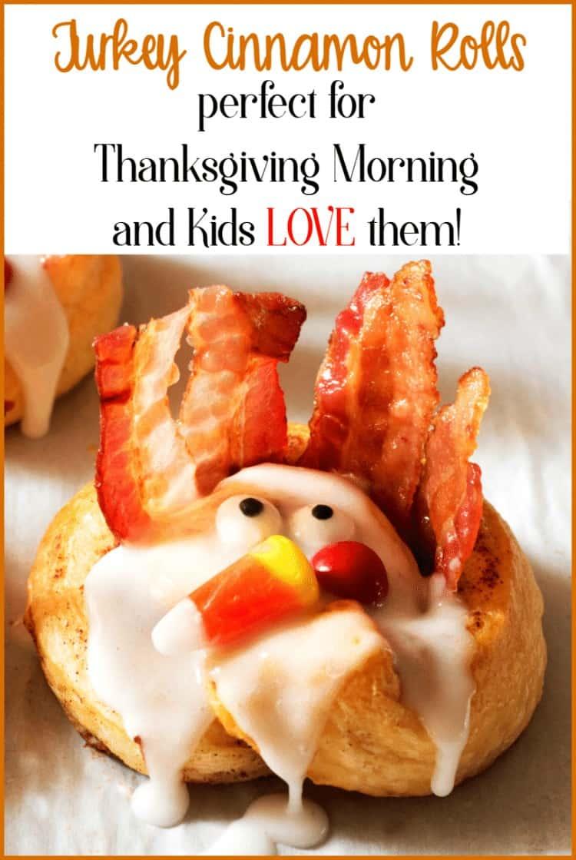 Thanksgiving morning breakfast - Turkey Cinnamon Rolls on a plate