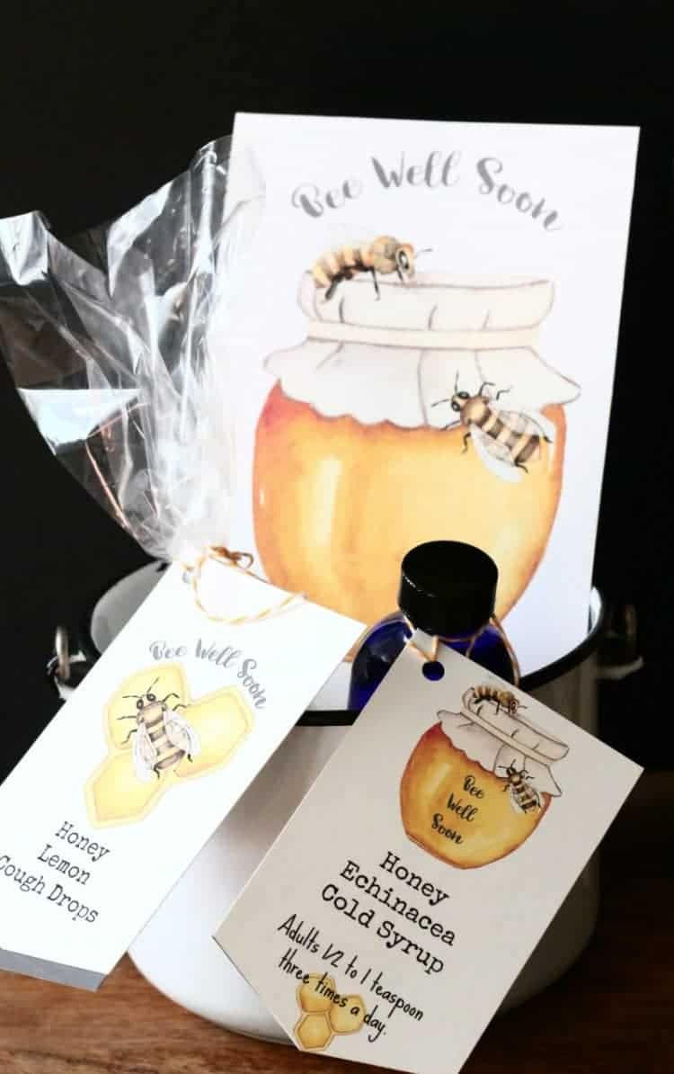 Homemade Honey Cough Drops and Honey Echinacea Cold Syrup plus free Bee Well Soon Printables at www.cupcakesandcrinoline.com - Honey Cough Drops