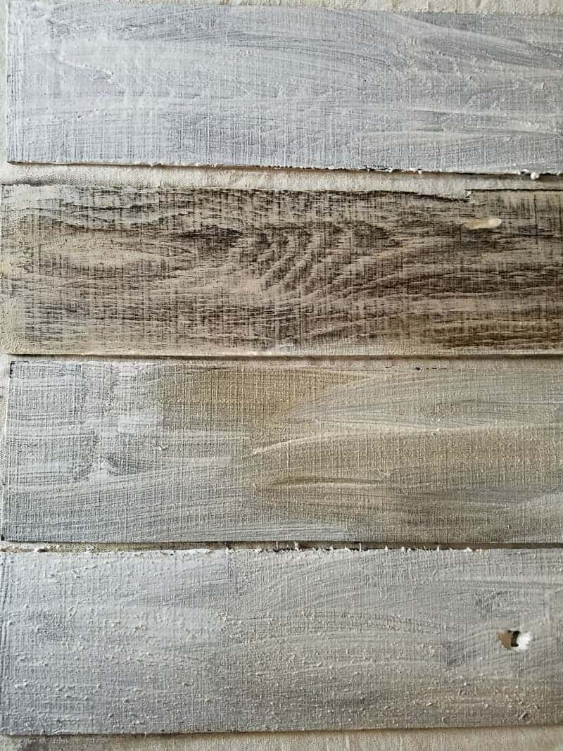 How To Get the Look of Weathered and Aged Wood - Pallet Wood Faux Fireplace at www.cupcakesandcrinoline.com