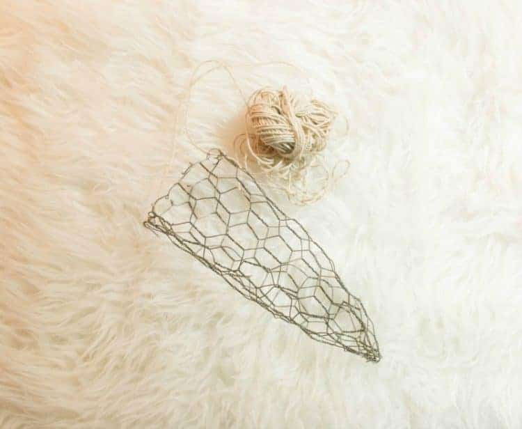 Chicken Wire Cone with Twine Hanger to fill with evergreens.