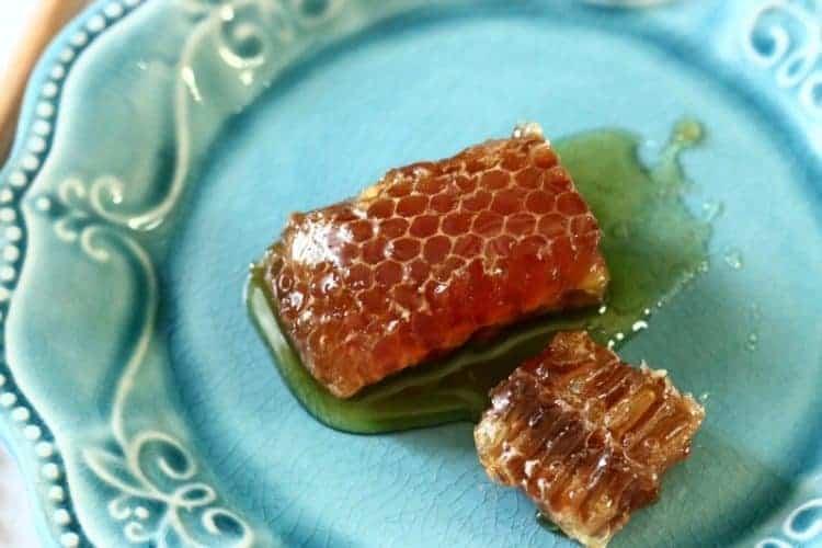 don-victor-orange-blossom-comb-honey-globe-jar-honeycomb-on-plate - Honey Cough Drops