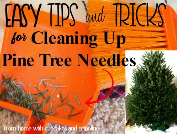 How to clean up Christmas Tree Pine Needles from Carpeting, Furniture and Floors - www.cupcakesandcrinoline.com