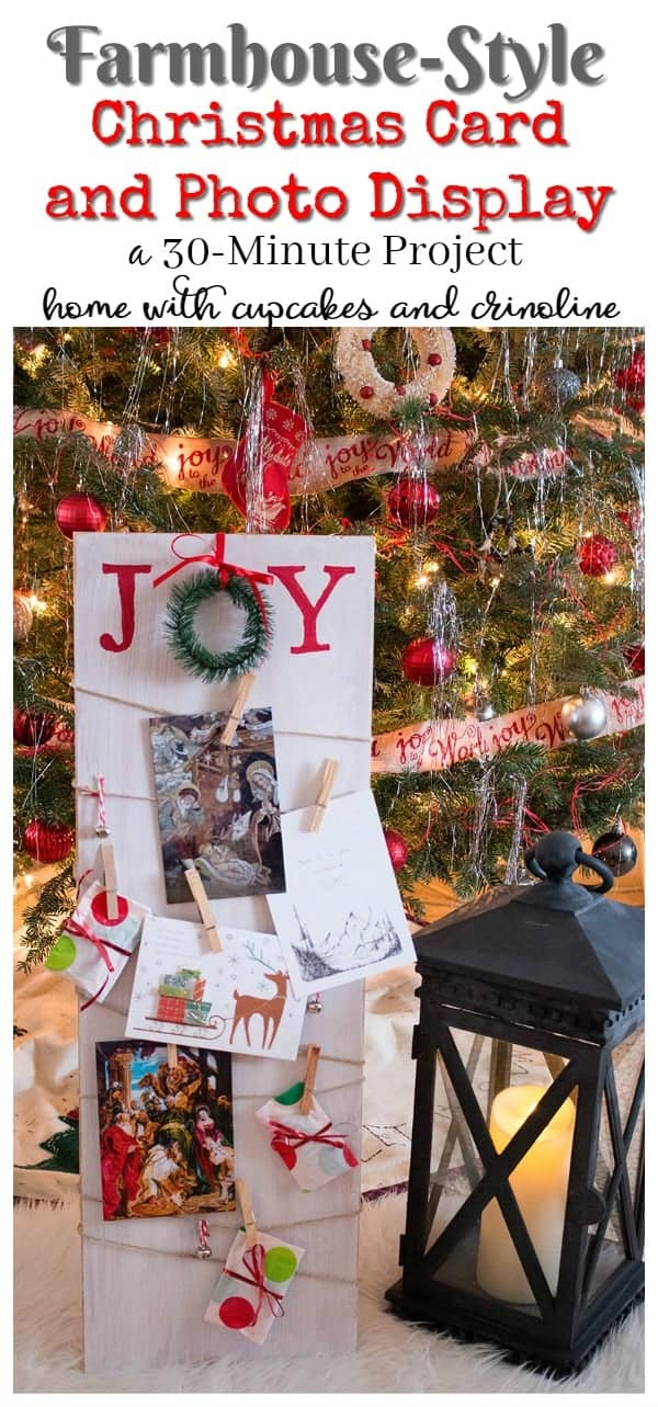 Farmhouse Style Christmas Card and Photo Display made with salvaged wood - a 30 minute project. Get the tutorial at www.cupcakesandcrinoline.com