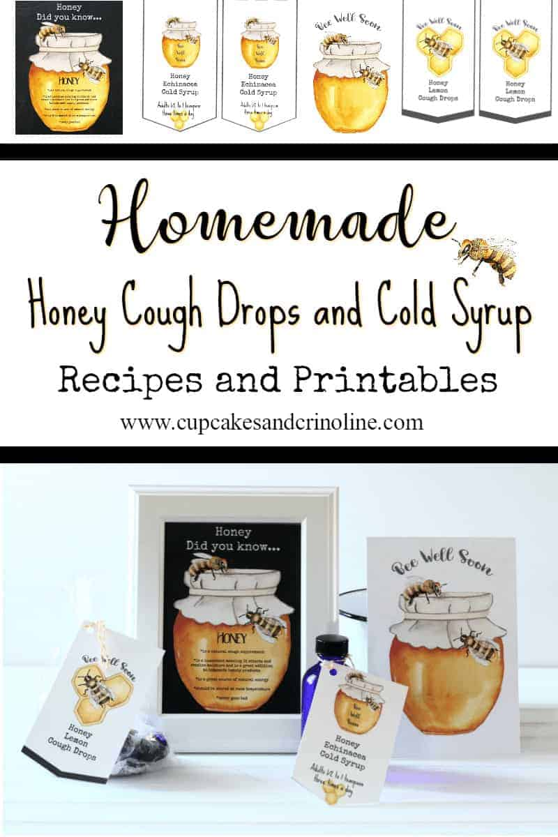 Honey and Lemon Cough Drops and Honey Echinacea Cold Syrup plus Bee Well Again printables at www.cupcakesandcrinoline.com