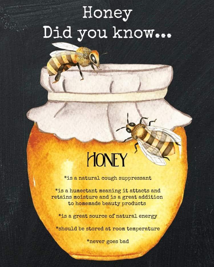 The Benefits of Honey Printable. Homemade honey cough drops and honey cold syrup. www.cupcakesandcrinoline.com