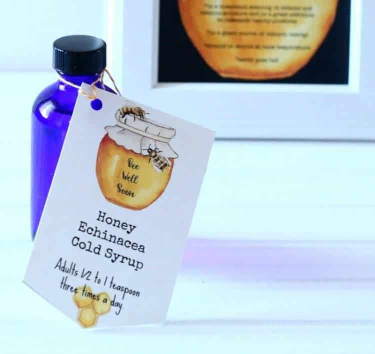 Honey Cough Drops and Honey Echinacea Cold Syrup plus Bee Well Soon printables at www.cupcakesandcrinoline.com