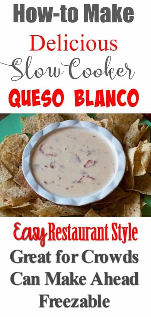 How to make delicious, restaurant style, slow cooker queso blanco. Great for crowds, can be made ahead and is freezable. Perfect for entertaining. www.cupcakesandcrinoline.com