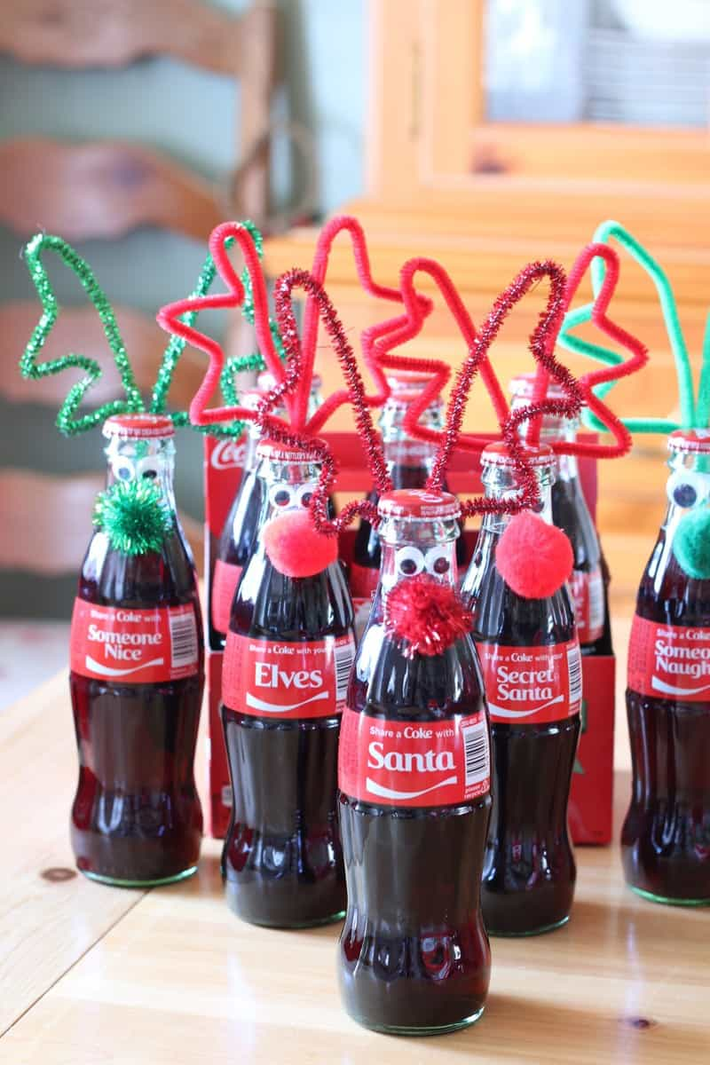 Googly Eyed Reindeer Bottles - at www.cupcakesandcrinoline.com