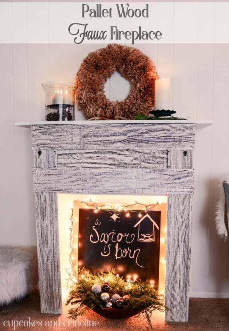 DIY Pallet Wood Faux Fireplace - www.cupcakesandcrinoline.com