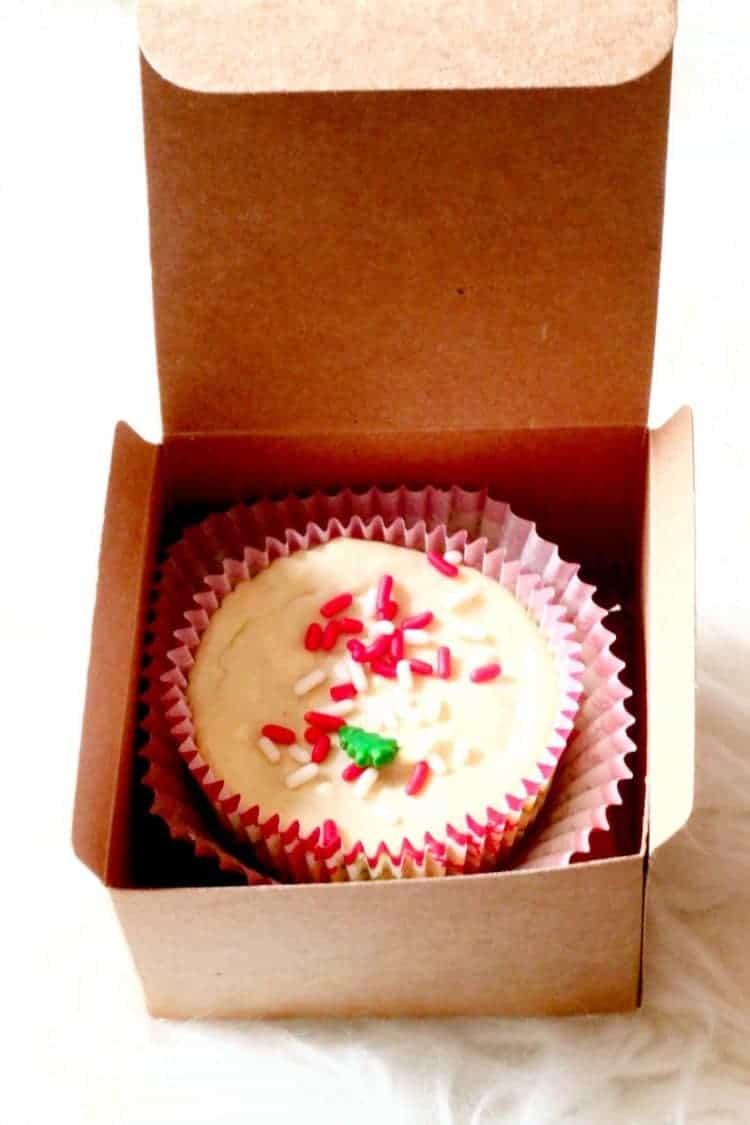 Red Velvet Oreo Cheesecake in box for gift giving.