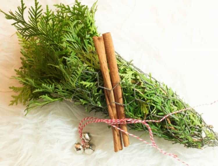 Red twine and jingle bells wrapped around a rustic fresh evergreen chicken wire cone - Rustic Evergreen Decor at www.cupcakesandcrinoline.com