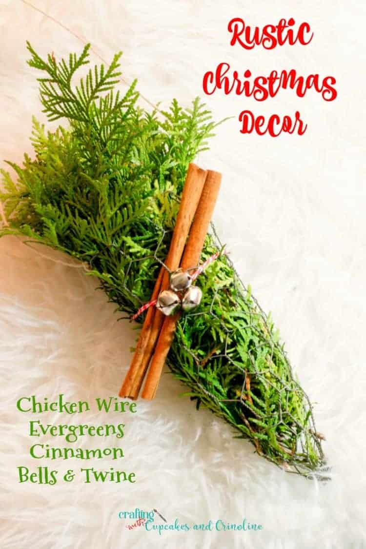 Rustic Christmas Decor - Chicken Wire Cone filled with fresh evergreens with cinnamon sticks, bells and twine - from www.cupcakesandcrinoline.com