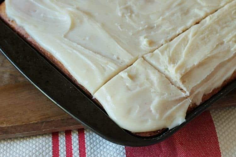Banana Sheet Cake cut into squares