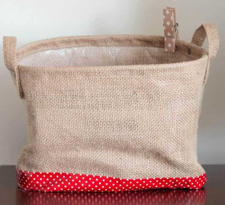 Burlap Basket used for home office organization