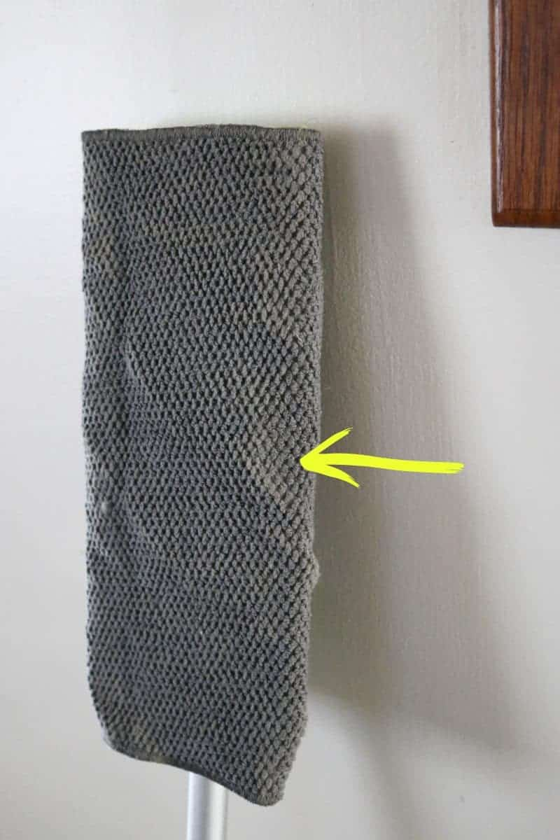 Dust from Wiping Down One Wall with the smooth side of a Scotch-Brite Dish Cloth