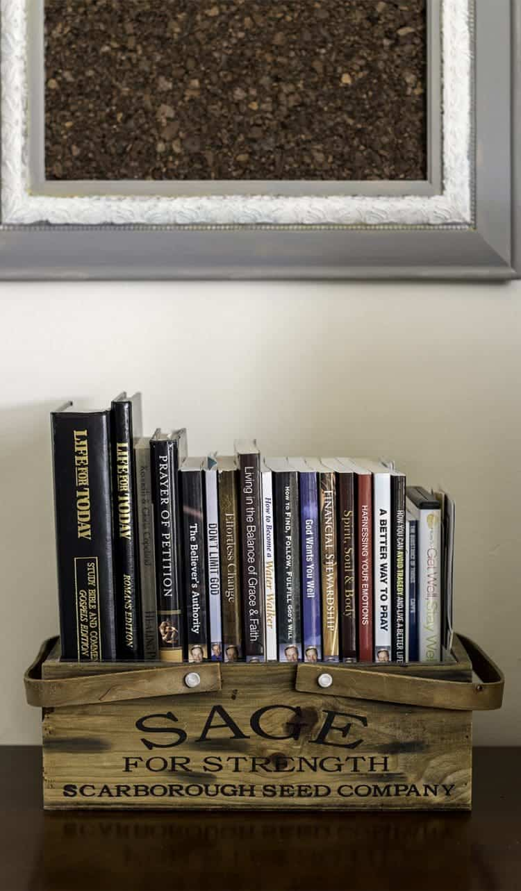Home Organizing - use wooden herb boxes to store books.