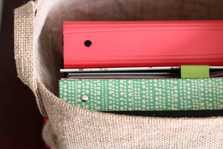 Store inexpensive binders in burlap bags