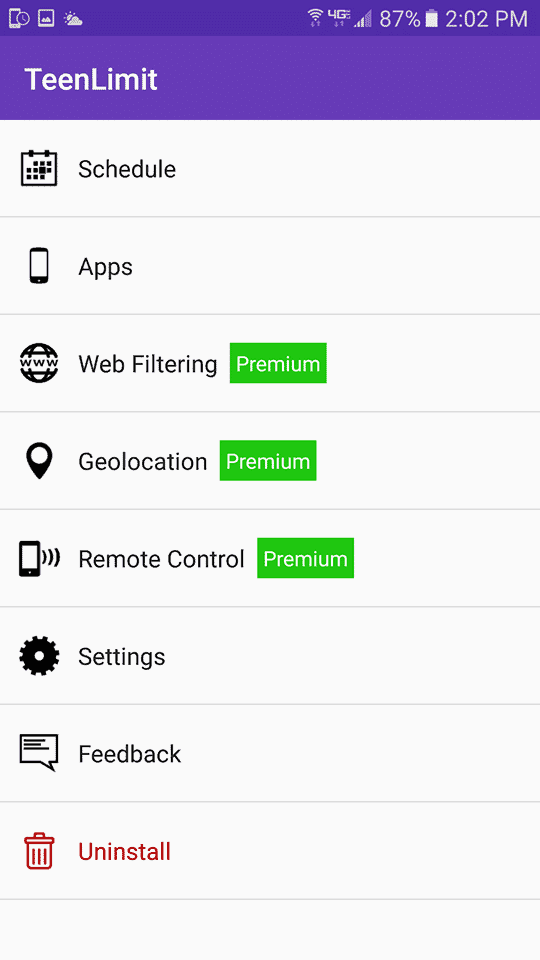 TeenLimit Interface