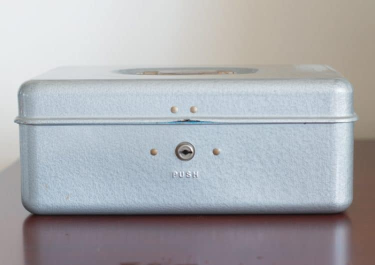 Thrift Store Cash Box used for home office organizing
