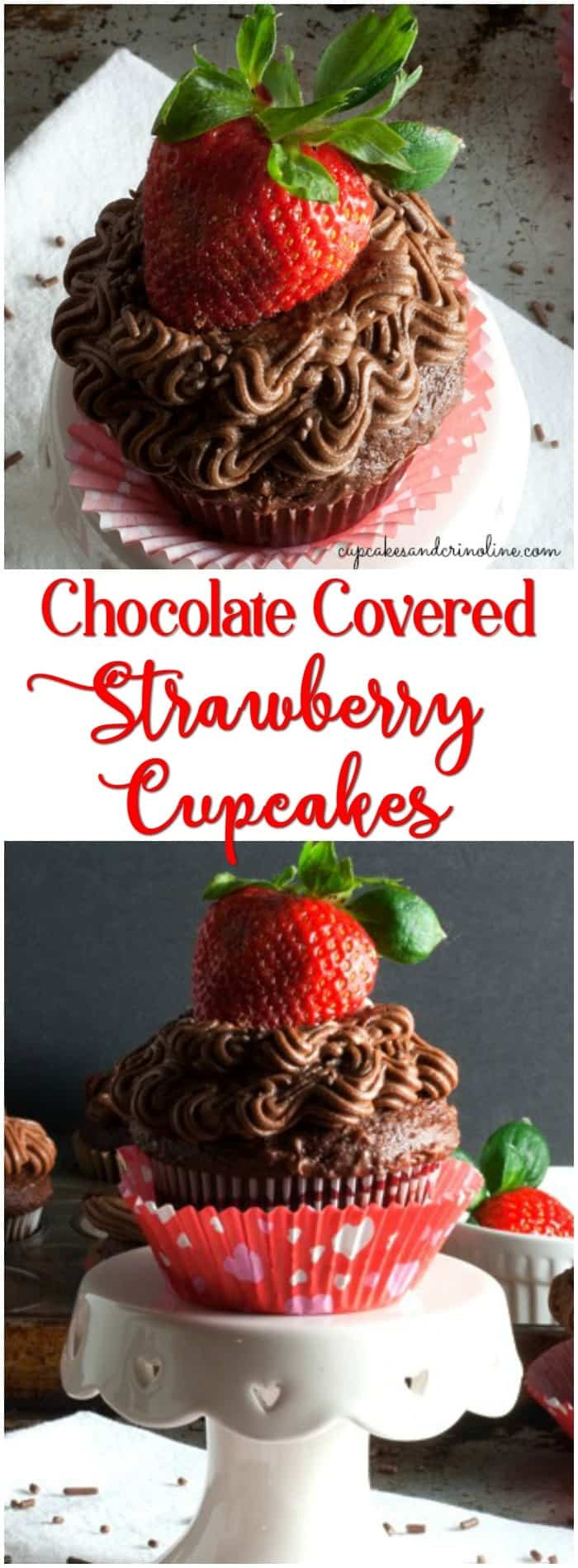 Chocolate Covered Strawberry Cupcakes with Buttercream Frosting from cupcakes and crinoline
