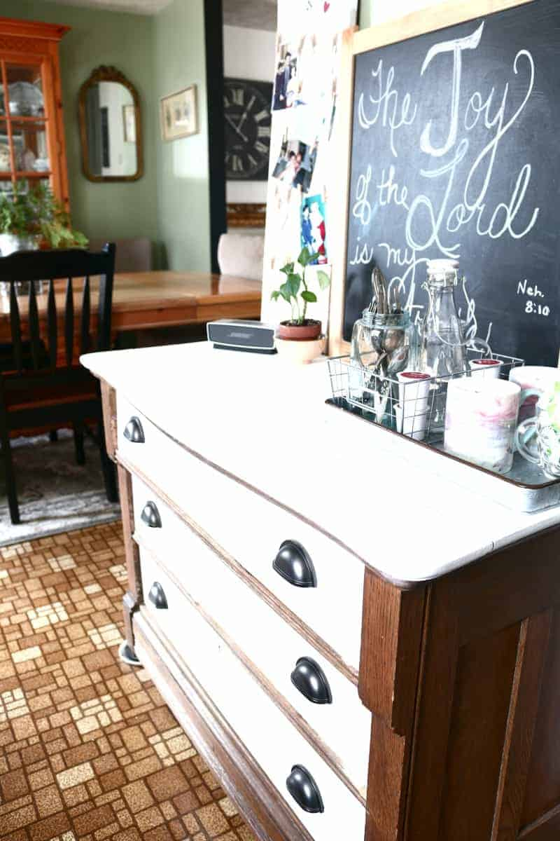 Dresser Makeover with Paint - living room to kitchen swap