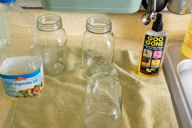 Vegetable oil to remove glue from paper labels.