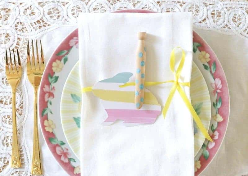 Completed Sweet and Simple Easter Napkin Idea - ribbon, clothespin, paper bunny and polka dots