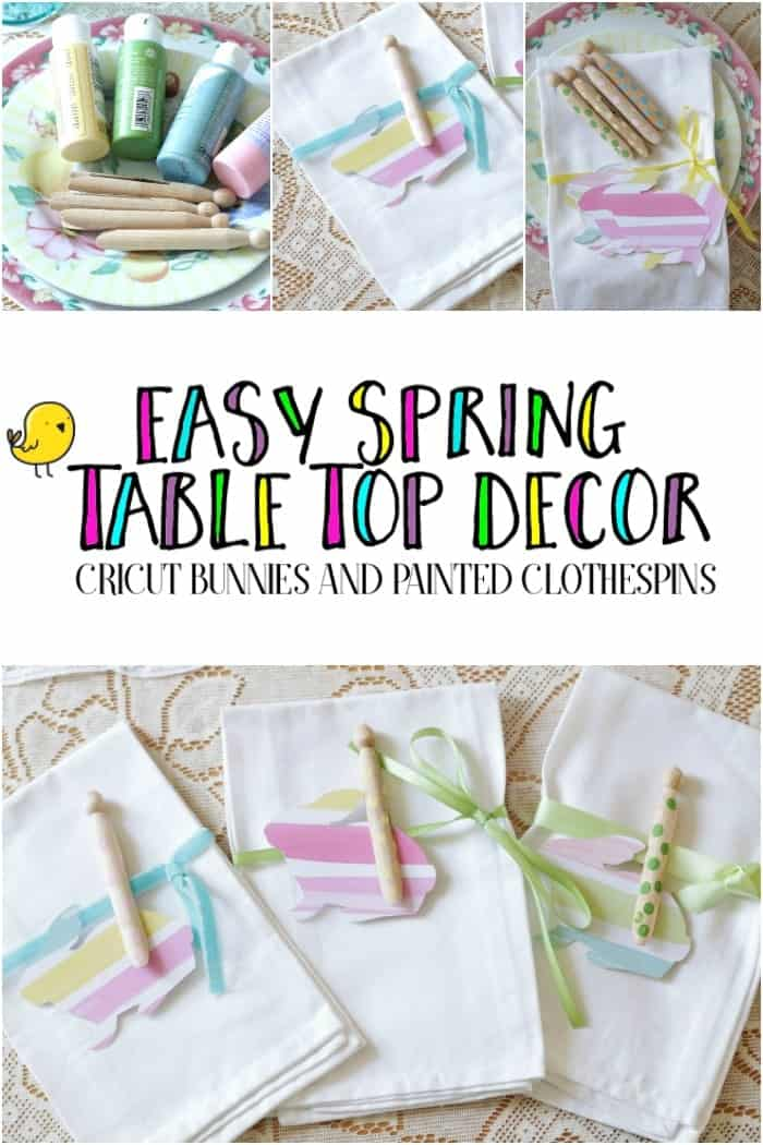 Plain white napkins beautifully adorned with watercolor paper bunnies, ribbons, and polka dot painted clothespins