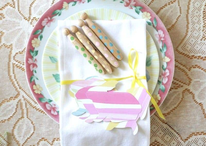 Finished polka dot painted wooden Clothespins and Paper Bunnies