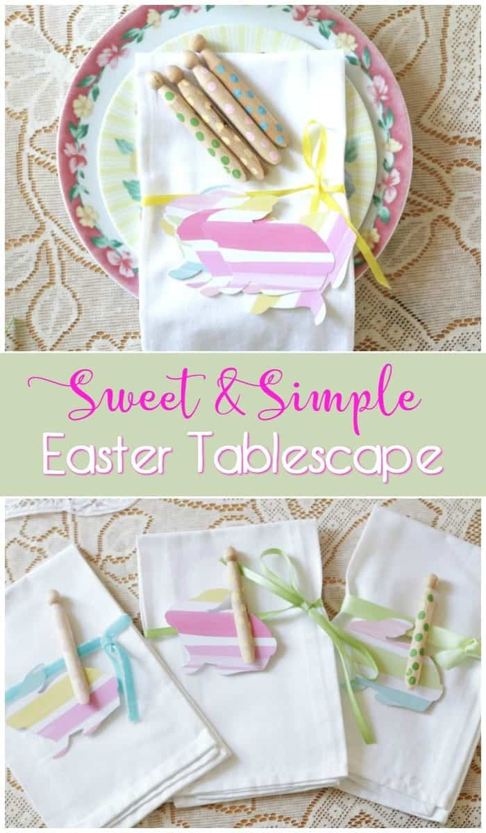 Sweet and Simple Easter Tablescape - Watercolor bunny napkin decor