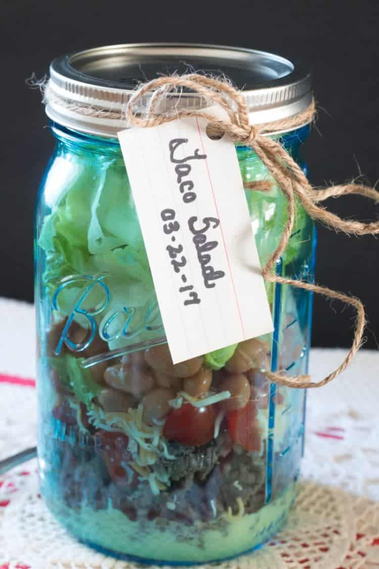 Taco Salad in a Jar - stays fresh for two days in the refrigerator