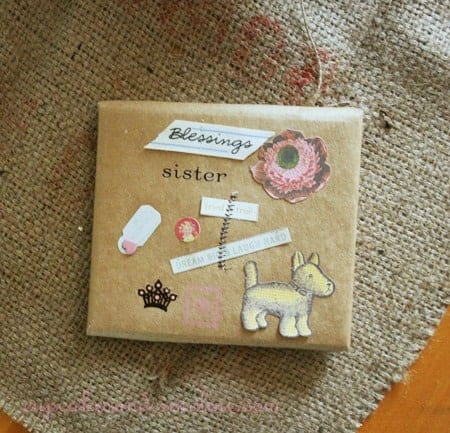 Customize gift wrap using brown craft paper, paper emphemera and some simple sewing